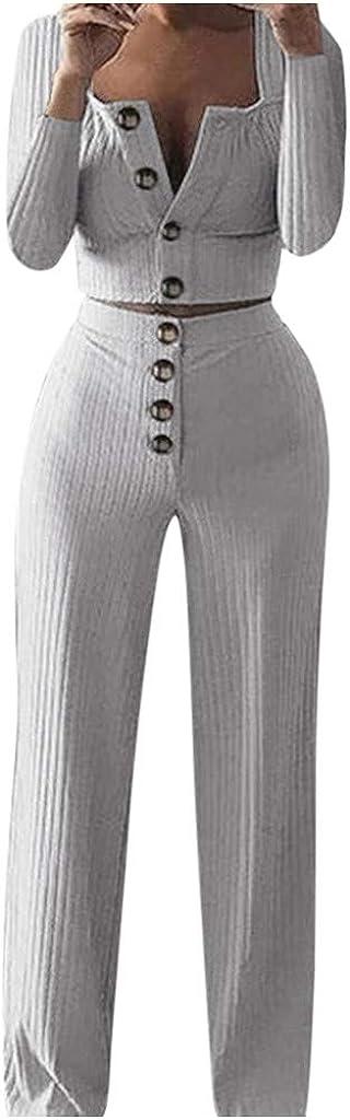 showsing-women clothes Damen Slim Body Knopfleiste Casual Suit Damen Langarm quadratischer Kragen Knopf Cardigan Tops Lange Hosen Set Winter Jogging Sportbekleidung