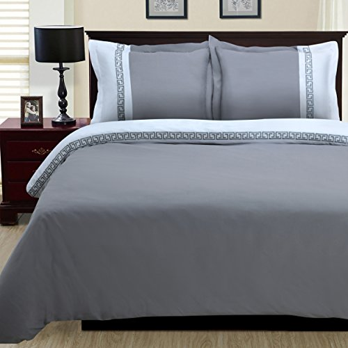 3-Piece Emma Wrinkle Resistant Duvet Cover Set, King/California King, White/Grey