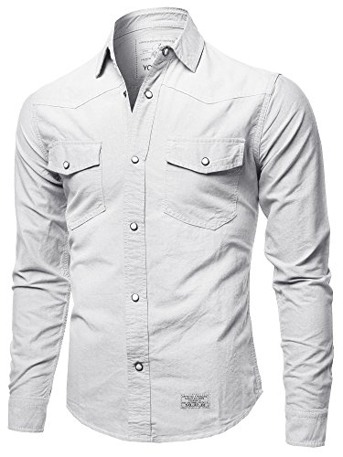 Youstar Solid Long Sleeve Button Up Western Shirts White Size M