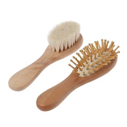 Manyo - 2 cepillos para el pelo de bebé, peine de madera, cepillo ...