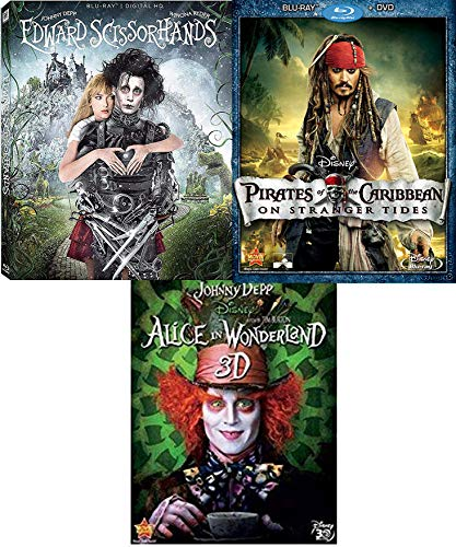 Tides of Johnny Depp Edward Scissorhands Blu Ray + Alice in Wonderland in 3D Director Tim Burton + Disney Pirates of the Caribbean on Stranger Tides Fantasy 2 film Triple -