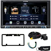 Alpine iLX-207 Apple Car Play & Android Auto Receiver With Rear View Camera + License Plate Frame, Trigger Module