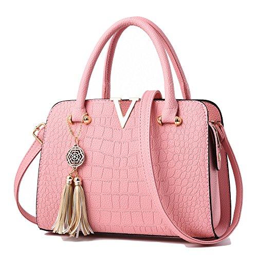 RENHONG Bolso De Cuero De Las Señoras Bolso De Cocodrilo De Moda Patrón Diagonal De Hombro Borla Colgante Negro Rojo Rosa Azul,Blue-28*13*20cm Pink