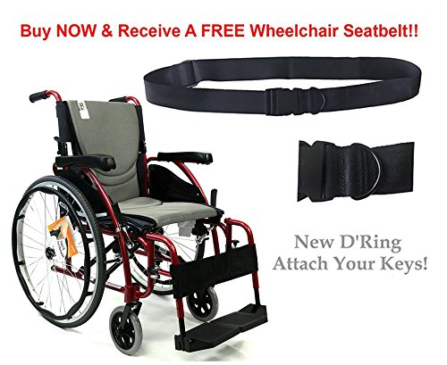 New Karman S-Ergo 125 ( S-Ergo125F18RS ) Ergonomic Wheelchair with Flip-Back Armrest and Swing Away Footrest in Red, 18