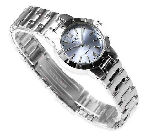 Casio Women's Quartz Analog LTP-1177A-2A Light Blue Analog Quartz Dial Silver Metal Fashion Watch (Womens Light Silver Dial)