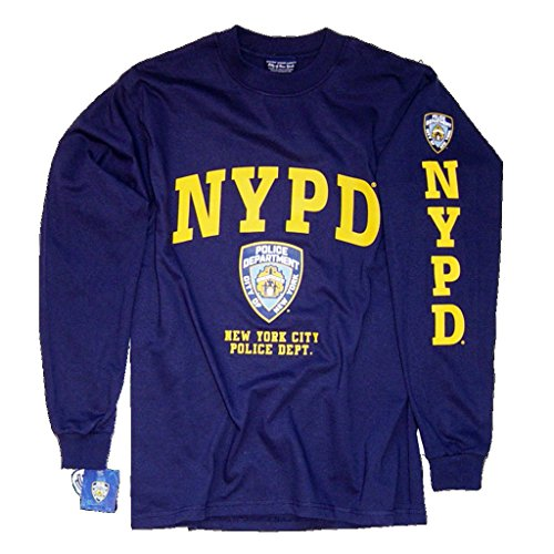 NYPD T-Shirt, Long Sleeve New York City Police Department Screen Printed Shield -