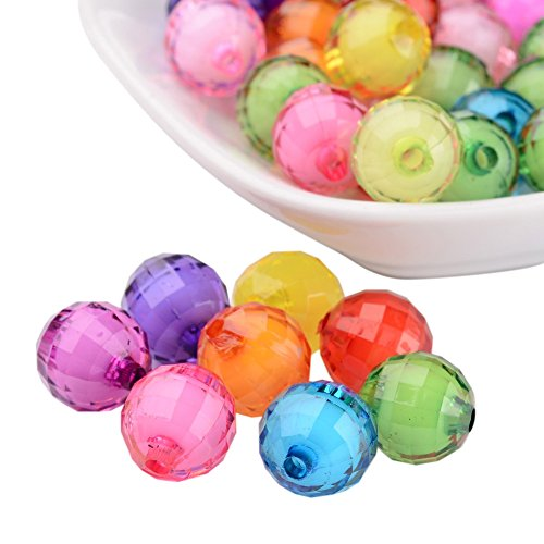 NBEADS 580pcs/500g 12mm Random Mixed Color Transparent Acrylic Beads Round Faceted Loose Beads Spacer Beads for Jewelry Making ()