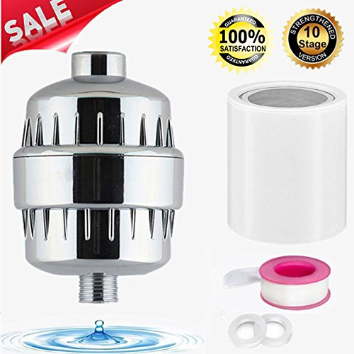 Universal Shower Filter with 10-Stage Filter Cartridge, High-Pressure Shower Water Purifier to Prevent Dry Hair and Skin, Remove Chlorine & Impurities - Chrome Finish (Water Prevent)