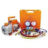 BACOENG 3.6CFM Vacuum Pump & Manifold Gauge Set - HVAC A/C Refrigeration Kit - Diagnostic R12 R22 R134a R410A - w/ Case