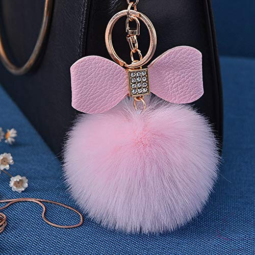 Fluffy Ball Key Chain 8-10cm Cute Keychain Bag Charm Ball Fur Key Chain for Car Key Ring (Light Pink)