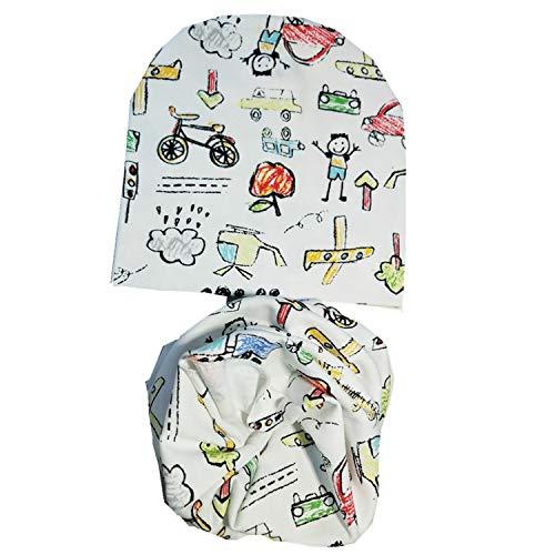 Cartoon Print Cotton Spring Autumn Baby Beanie Scarf Sets Zoo Bear Cute Cap Collar Accessories Boys Girls hat ()