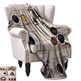 Anyangeight Weave Pattern Extra Long Blanket,Collage of Different Coffee Details on Wooden Table Mugs Beans Organic Concept 50''x30'',Super Soft and Comfortable,Suitable for Sofas,Chairs,beds