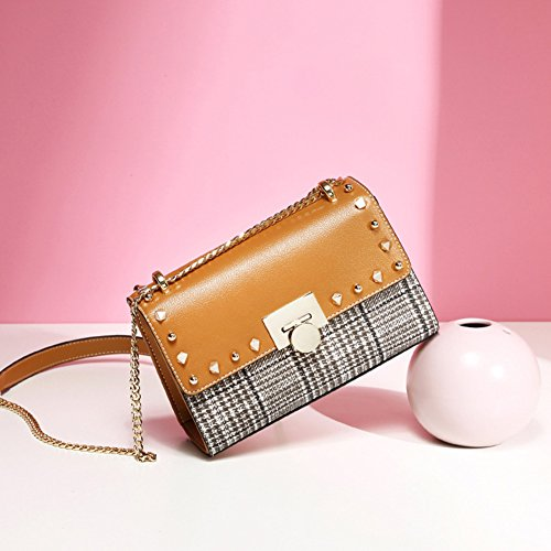 Strap Grid Bag Rivet Bag with Crossbody Mini Yoome Single Leather Shoulder Women Ladies for Studded Blue Burgundy Clutch Chain da8twxqw