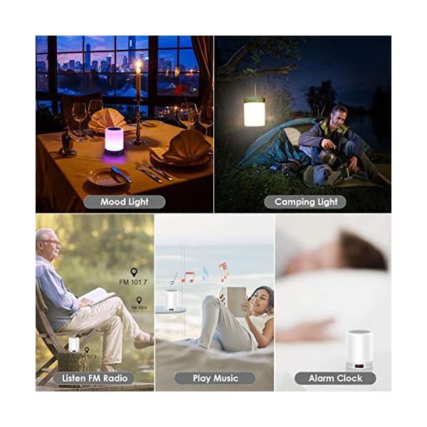 5 EN 1 Lampe de Chevet Tacile Rechargeable Portable,JOLVVN Lampe de Table Enceinte Bluetooth Musique USB FM Radio Réveil Numérique Lumière LED Multicolore Cadeau Hommes/Femmes/Enfants 7