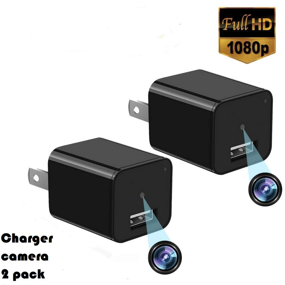 2019 Upgraded Spy Charger Hidden Camera 2 Pack-No Wifi-7 24Hours House Hidden Surveillance