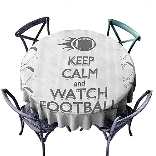 Football Circle Tablecloth American Sport Play Keep Calm Quote Monochrome Rocket Ball Vintage Label Flannel Tablecloth (Round, 36 Inch, Black White Grey)