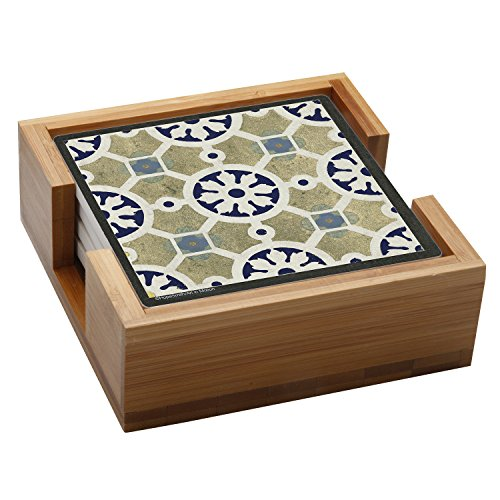 Tile Indigo - Thirstystone Stone Drink Coaster Set World Indigo Tiles - Wood Holder Included, Multicolored