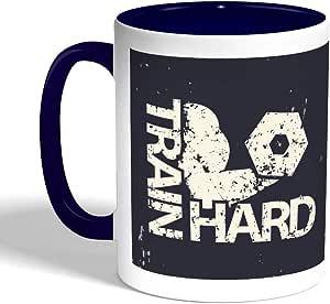 train hard Printed Coffee Mug, Blue Color