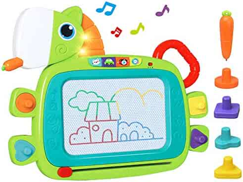 LUKAT Toddler Magnetic Drawing Board with Sound Toys for 1 2 Year Old Girls Boys, 4-Colors Musical Erasable Travel Size Doodle Sketch Board