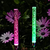 Abkshine 2 Set RGB Color Changing LED Solar Tube Stake Lights, Multi-Colored Solar Powered LED Garden Stick Lights for Outdoor Patio Path Back Yard Summer Addition(Extra Large Version) For Sale