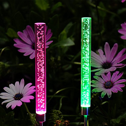(Abkshine 2 Set RGB Color Changing LED Solar Tube Stake Lights, Multi-Colored Solar Powered LED Garden Stick Lights for Christmas Outdoor Path Patio Back Yard Summer Addition(Extra Large Tube))