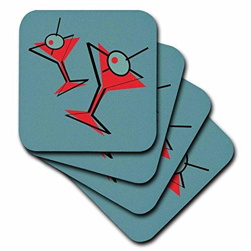 3dRose cst_124151_3 Retro Pair of Martinis Ceramic Tile Coasters, Set of 4