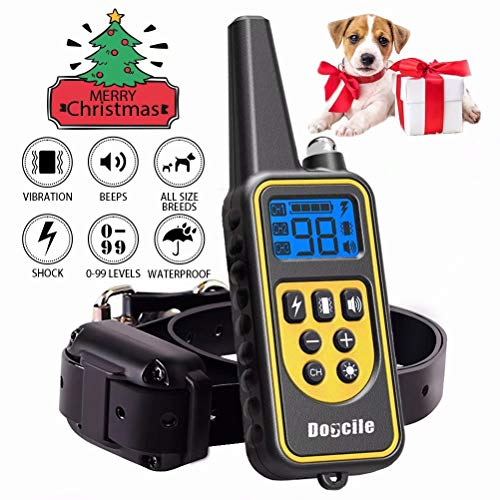Shock collar for dogs 2600 FT Dog Shock Collar with Remote Beep Vibration Shock Light Modes Dog Training Collar IPX7 100% Waterproof and Rechargeable Shock Collar