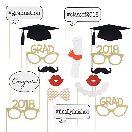 Graduation Photo Props Graduation Phtoto Booth Props OULII 2018 Graduation Party Decorations Pack of 17