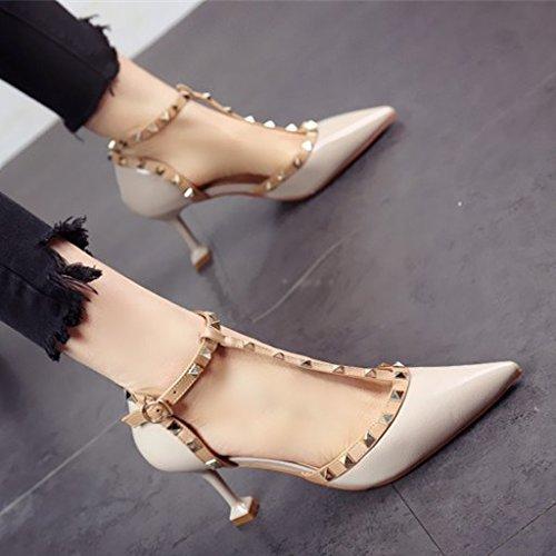 FLYRCX Printemps et été bouche peu profonde fait rivets sexy chaussures à talons hauts chaussures de mode pour femmes dame personnalité parti chaussures en cuir c XZesgF
