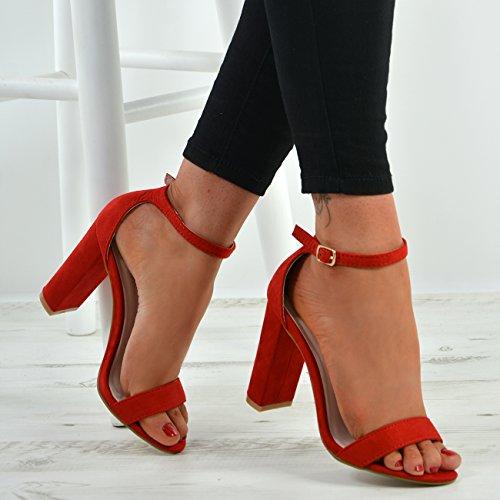 Cucu Fashion New Womens Ankle Strap Block Heel Sandals Peep Toe Ladies Shoes Size UK 3-8 Red tfIhVgXS