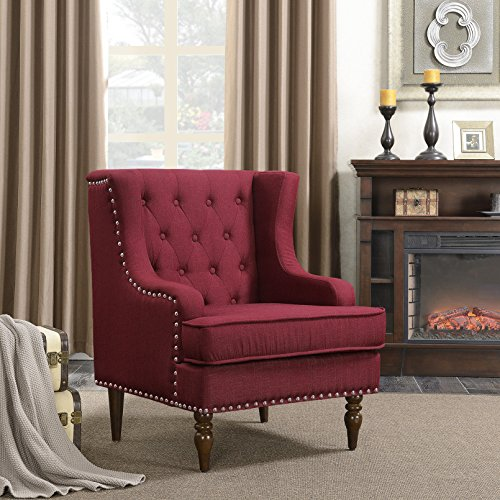 Belleze Stylish Button Tufted with Nailhead Trim Cushioned WingBack Accent Chair Traditional Armrest, Burgundy - Traditional Wingback Chair