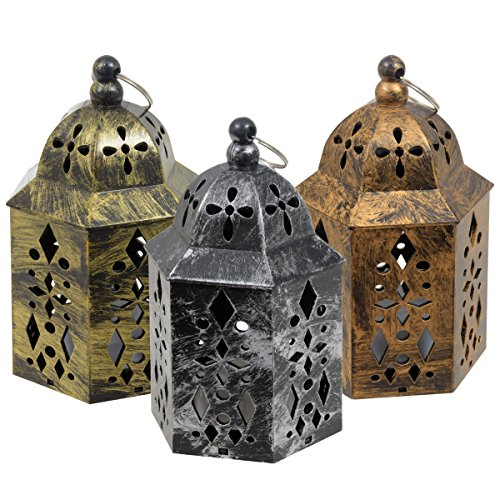 LED Metal-Look Moroccan Lanterns, Set of 3 Antique Finish Miniature 5.25 inch Candle Lights (1 of Each Color - Silver, Gold, Copper)