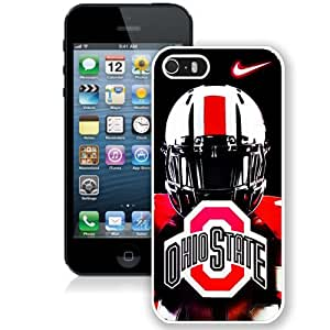 Customized Iphone 5 5S Case with Ncaa Big Ten Conference Football Ohio State Buckeyes 46 Protective Cell Phone Hardshell Cover Case for Iphone 5 5s White