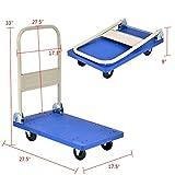 Goplus Folding Platform Cart 220LBS Rolling Flatbed Cart Hand Platform Truck Push Dolly for Loading