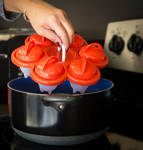 Shaliyan Egg Cooker-6 Pack 6 Exclusively and Holder 6 Nonstick Silicone Seen on TV Hard Boiler Poache, Standard, White/Red by Shaliyan (Image #9)