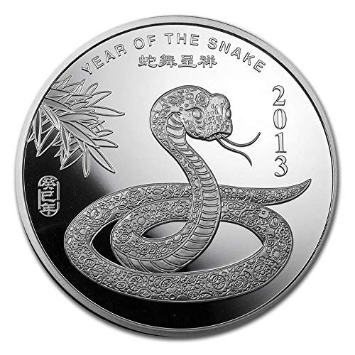 CN 2013 Year Of The Snake 5 Troy Ounces Proof (2013 Year Of The Snake Silver Proof Coins)