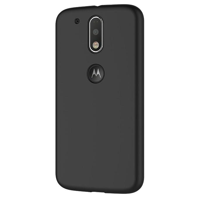 AICEK Funda Motorola Moto G4 / G4 Plus, Negro Silicona Fundas para Lenovo Moto G4 / G4 Plus Carcasa (5,2 Pulgadas) Negro Silicona Funda Case