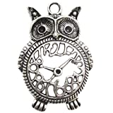 Fabscraps E7 129 Silver Embellishments (5 Pack), Owl Clock