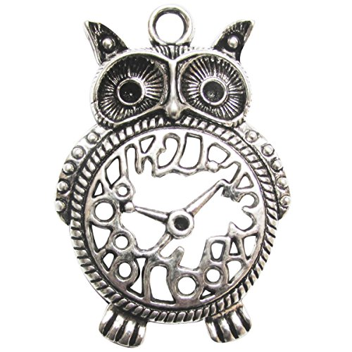 Fabscraps E7 129 Silver Embellishments (5 Pack), Owl Clock by FabScraps