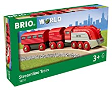 Brio World 33557 - Streamline Train - 3 Piece Wooden Toy Train Set for Kids Ages 3 and Up