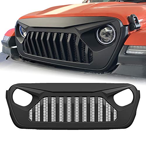 American Modified 2018-2019 JL JLU Vader Grill Jeep Wrangler Grill Grille Accessories & Unlimited Rubicon Sahara Sports(Matte Black)