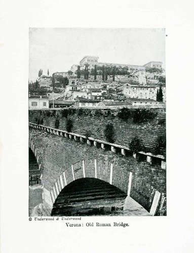1924 Print Verona Vento Italy Roman Bridge Old Stone City Town Europe - Original Halftone Print from PeriodPaper LLC-Collectible Original Print Archive