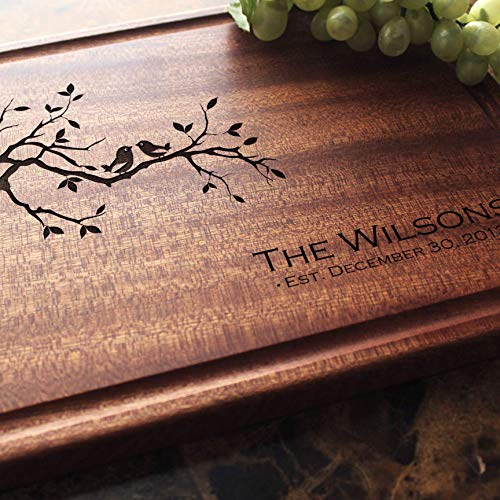 Birds on a Branch Personalized Engraved Cutting Board- Wedding Gift, Anniversary Gifts, Housewarming...