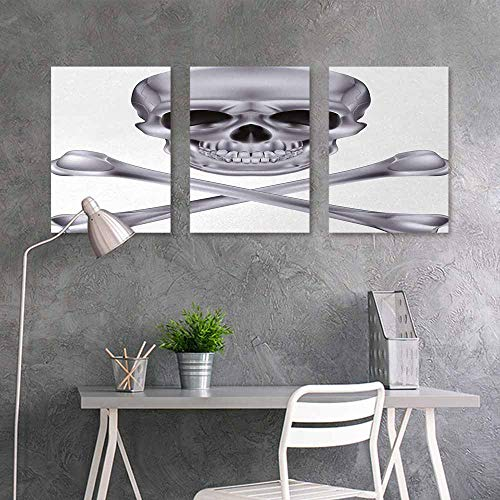 BE.SUN Art Original Oil Painting Sticker,Silver,Vivid Skull and Crossbones Dangerous Scary Dead Skeleton Evil Face Halloween Theme,for Home Decoration Wall Decor 3 Panels,24x47inchx3pcs,Dimgray -