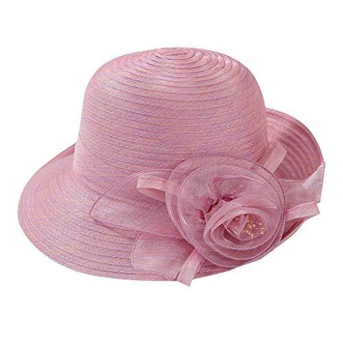 (hositor Kentucky Derby Hats for Women, Women's Organza Church Kentucky Derby Fascinator Bridal Tea Party Wedding Hat Pink)