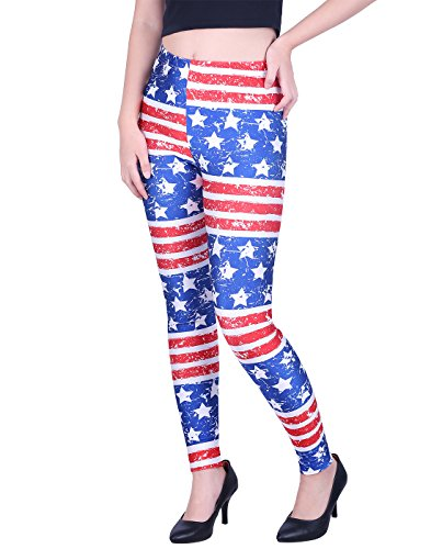 HDE Women's Funky Digital Print Design Graphic Stretch Footless Fashion Leggings