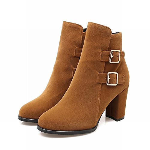 Charm Foot Womens Western Buckle Chunky Tacco Alto Stivaletti Giallo Marrone