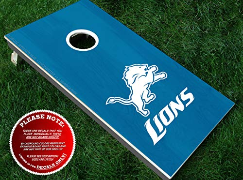 Lions Cornhole Decals | HALF SET | Color Choice | Large Decals + Ring Sticker | DIY Cornhole Board Building & Decorating | Decal Sticker Hub