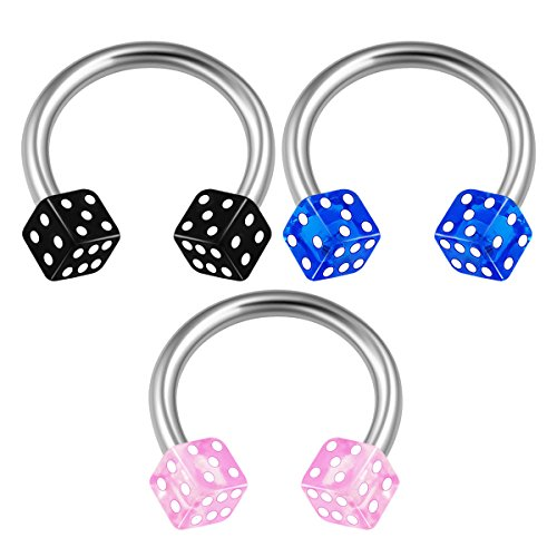 BanaVega 3PCS Surgical Steel Circular Barbell Horseshoe 16 Gauge 5/16 8mm 3mm Dice Eyebrow Lobe Earrings Septum Piercing Jewelry 1715