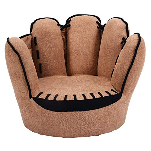 Costzon Kids Sofa Chair, Baseball Glove Shaped Fingers Style Toddler Armchair Living Room Seat, Children Furniture TV - Bean Bag Theme Sports